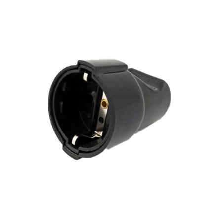 Гнездо De-Pa 11102 с заземлением 220В 16А IP20 пластик черный - 1