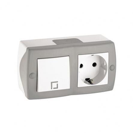 Выключатель 1кл+розетка с заземлением накладной Mono Electric, OCTANS IP 20 серый - 1
