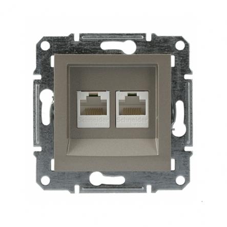 Розетка компьютерная 5eUTP двойная бронза Asfora, EPH4400169 - 1