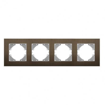 Рамка на 4 места горизонтальная VIDEX Binera Шоколадный алюминий (VF-BNFRA4H-CH) - 1