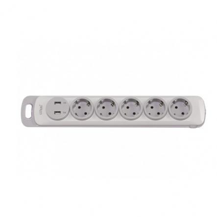 Колодка Luxel Nota 5 розетки с заземлением и выключателем +2 USB (4371) - 1