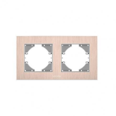 Рамка на 2 места горизонтальная VIDEX Binera Медный алюминий (VF-BNFRA2H-CP) - 1