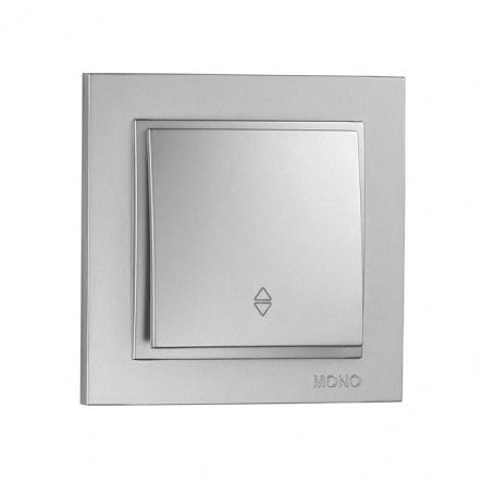 Выключатель 1 кл. проходной Mono Electric, DESPINA (серебро) - 1
