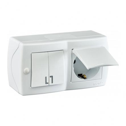 Выключатель 2кл+розетка с заземлением с крышкой накладной Mono Electric, OCTANS IP 20 белый - 1