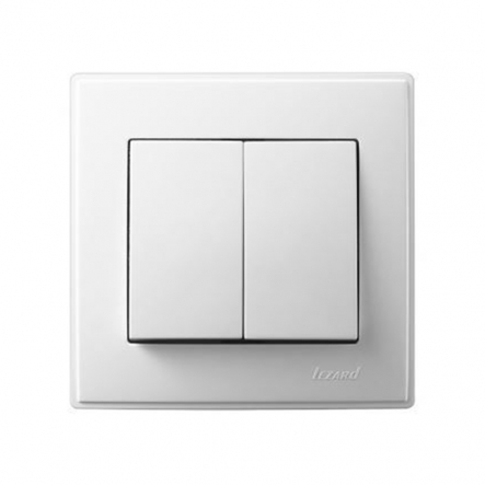 Выключатель двухклавишный Lezard Lesya без подсветки 10 А 250В белый 705-0202-101 - 1