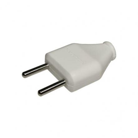 Вилка Neomax плоская без заземления 250В IP20 пластик белый - 1