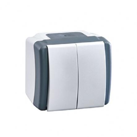 Выключатель двухклавишный Mono Octans без подсветки 10 А 250В серый 154-020001-102 - 1