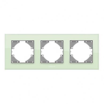 Рамка на 3 места горизонтальная VIDEX Binera Зеленое стекло (VF-BNFRG3H-GR) - 1